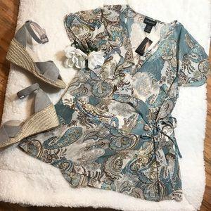 Brand New! LaneBryant Printed Tie Blouse 14/16